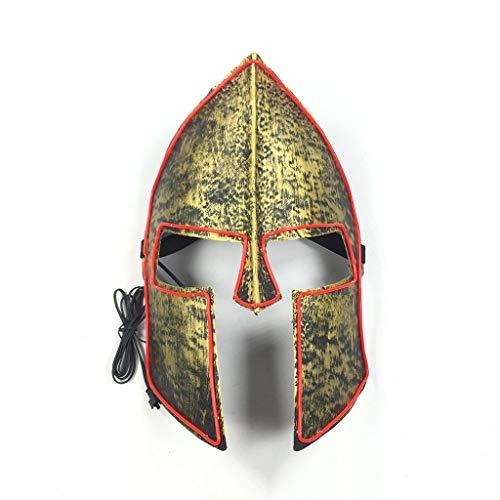 Kostüm Cosplay Domino - Spartan 300 Warrior Halloween Glowing Mask, 3 Arten Von Flash-Modus EL Kaltes Licht Maske FüR Weihnachten Karneval KostüM Cosplay Domino