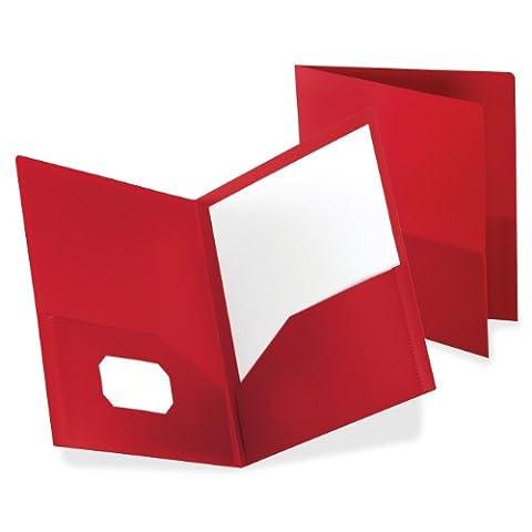 Twin-Pocket Polypropylene Portfolio, Red