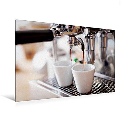 Preisvergleich Produktbild Premium Textil-Leinwand 120 cm x 80 cm quer,  Langsam läuft der aromatisch duftende Espresso aus der Kaffemaschine in die Tassen / Wandbild,  Bild auf Espresso,  Kaffeemaschine (CALVENDO Lifestyle);CALVENDO Lifestyle