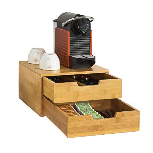 Sobuy portacapsule, contenitore per capsule caffé, bustine tè, multiuso& anti-scivolo,in bambù,frg82-n, it