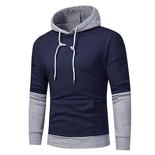 Kapuzenpullover Sunnyadrain Herren Hoodie Reine Farbe Patchwork Plus Größe Geschäft Pullover Winter Warm Sweatshirt Top Langarm