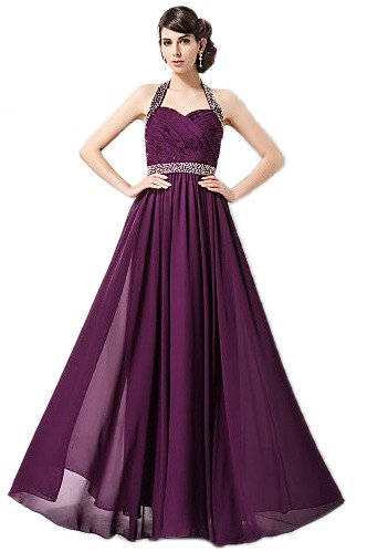 JL06 PURPLE SIZE 8-20 beading Evening Dresses party full length prom gown ball A-lINE Chiffon And Sequined Evening Dress