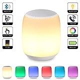 Bluetooth Lautsprecher Lampe / Touch Control Nachttischlampe, Dimmbar RGB Farbwechsel Musik lampe,Stimmungslicht Tischlampe, Kinder Nachtlicht Modus, MP3-Player, TF-Karten-Musik Spielen, Schlafmodus, Bluetooth Speaker Licht