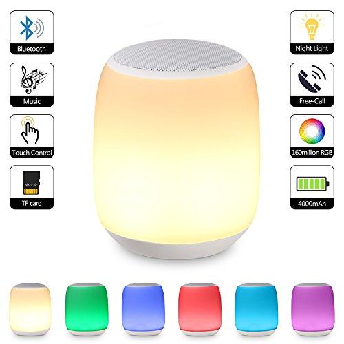 Sailnovo Multicolore Lampe Bluetooth Enceinte Lampe de Chevet Tactile Bluetooth Sans Fil Ambiance