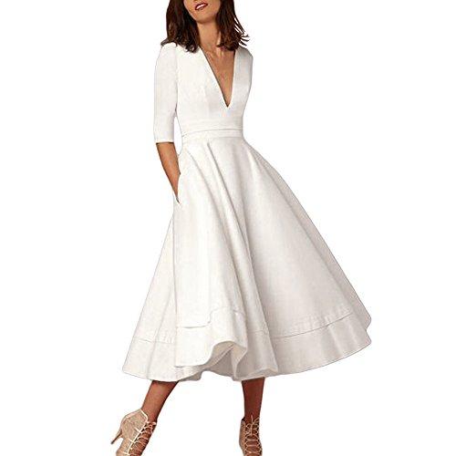 Vestido mujer, QinMM color sólido profundo V cuello vestido de baile fiesta de noche cóctel de fiesta (Blanco, XXL)