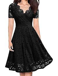 5 Colori Donna Abito Elegante Pizzo V-Collo Vestito Swing Dress(Vino ce21a2cae4f