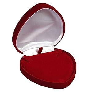 EYS JEWELRY Herz Schmuck-Etui für Collier 95 x 94 x 28 mm Samt bordeaux-rot Halskette-Box Schachtel Schatulle Geschenk-Verpackung