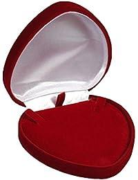 EYS Samt Herz Schmuck-Etui bordeaux rot für Collier Halskette 95 x 94 x 28 mm - Schachtel Schatulle Box Geschenk-Verpackung EYSBOX