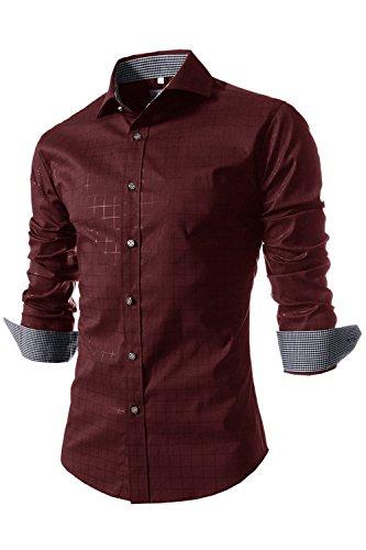 Dazosue Hombres Camisas De Cuadros De Manga Larga Camisa De Puño Francés Botón Negocio Rojo S