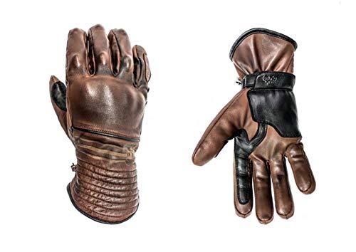 HELSTONS Rider - Guanti da moto invernali in pelle cammello/nero, T11