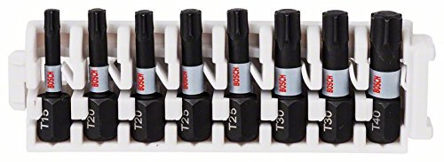 Bosch Professional Accessories 2608522322 Bosch Professional 8tlg. Schrauber Set Torx (Impact Control, T Bits-Länge 25mm, Pick and Click)