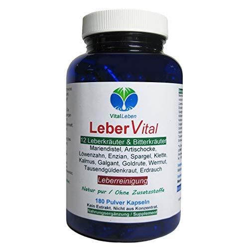 Leber Vital 12 Leberkräuter & Bitterstoffe 180 Kräuter Kapseln   Leber Reinigung & Entgiftung unterstützen   NATUR pur OHNE Zusatzstoffe   26471-180 -