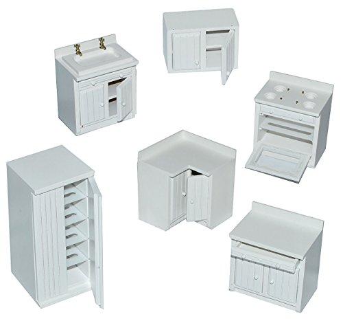6 tlg. Set: Küche / Küchenmöbel - weiß aus Holz - Miniatur - Schrank + Spühle + Hängeschrank + Herd + Eckschrank + Kühlschrank - Puppenstubenmöbel für Puppenstube Maßstab 1:12 - Puppenhaus Puppenhausmöbel Küche - Puppenstubenmöbel Kirsche