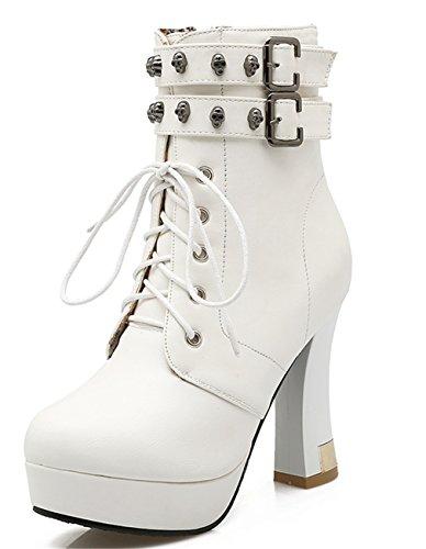 YE Damen Blockabsatz Plateau High Heel Stiefeletten mit Schnürung und Nieten Schnallen 10cm Absatz Herbst Winter Ankle Boots Weiß