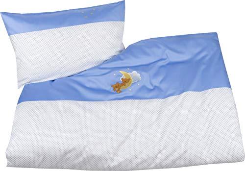 Mako Satin Kinder Bettwäsche Mond Bär 100x135 + 40x60 cm Blau, 100{51432a1608871835a21c2dba484993480d4bf403c52b60c00a7a430dd162ffd6} Baumwolle mit Bärchen Stickerei für Jungen