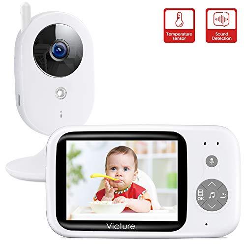 """Victure Video Babyphone mit Kamera, Baby Monitor/Baby Überwachungskamera, 3.2\"""" LCD Digital Bildschirm Nachtsichtkamera Temperaturüberwachung Gegensprechfunktion Sound-aktivieren Schlaflieder"""