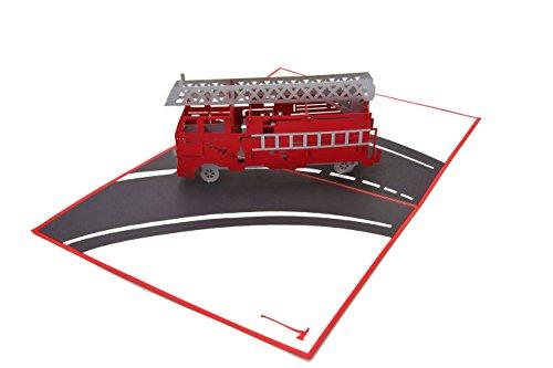 PopLife Cards Camión de bomberos 3d popup tarjeta de felicitación para todas las ocasiones bomberos, voluntarios, niños pliegues planas para correo cumpleaños, graduación, jubilación, felicitaciones,