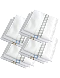 ShopCash 100% Cotton Striped Handkerchiefs White Striped (Pack of 12)