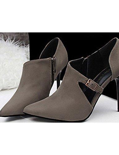 WSS 2016 Chaussures Femme-Décontracté-Noir / Rouge / Gris / Bordeaux / Kaki / Amande-Talon Aiguille-Talons-Talons-Laine synthétique red-us6 / eu36 / uk4 / cn36