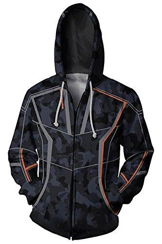 Herren Damen 3D Druck Iron Man Kapuzenpullover Tunnelzug Pullover Langarm Sweatshirt Unisex Kapuzenjacke Mit Taschen Iron Man Zipper