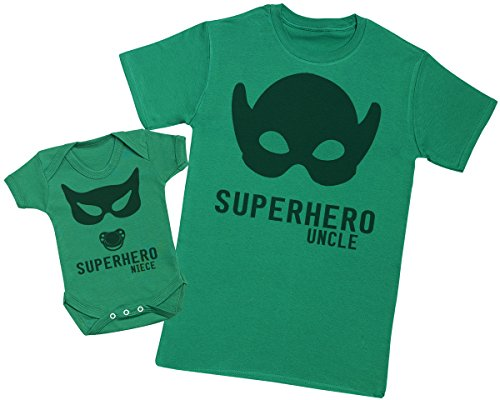 Zarlivia Clothing Superhero Niece - Ensemble Tontons Nièce Cadeaux - Hommes T Shirt & Barboteuse - Vert - Small & Newborn
