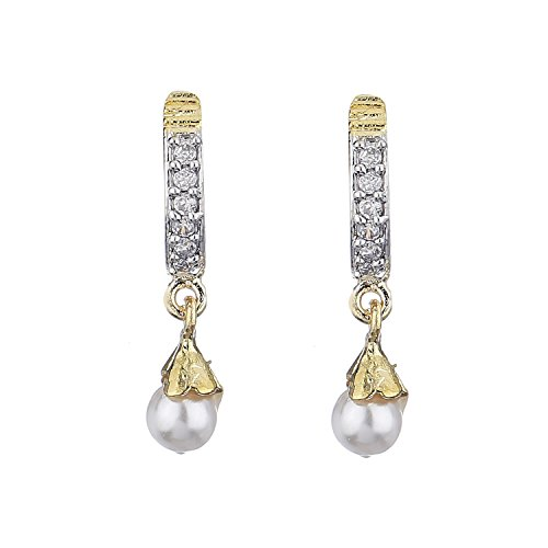 Zeneme Fancy Drop Gold Plated American Diamond Bali Earrings Jewellery for Women and Girls  available at amazon for Rs.99