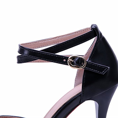 AllhqFashion Damen Blend-Materialien Schnalle Spitz Zehe Stiletto Rein Pumps Schuhe Schwarz