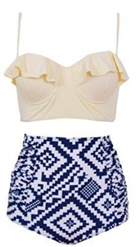 Damen Swimwear Hohe Taille Bikini Strand Swimsuit Badeanzüge Spalte-Badeanzug-Bikini Modern Bandeau Bademode Mischfarbe Push Up Bikinis Set Weiß1