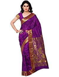 Varkala Silk Sarees Women's Art Silk Kanchipuram Saree With Blouse Piece(JP7108PV_Purple_Free Size)