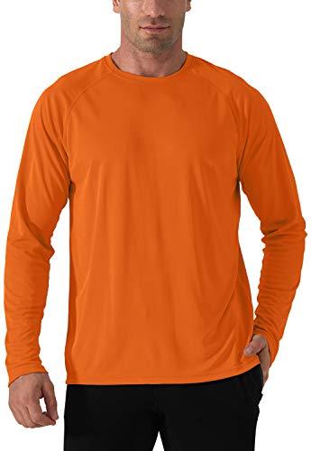 Herren Sonnenschutz Langarm T-Shirt Hiking Fishing Shirts Rash Guards UV Schutz Funktionsshirt Sun Protection Outdoor Shirt Schnelltrocknend Wandershirt Herren Surf Laufen Angeln Wandern Shirts Orange
