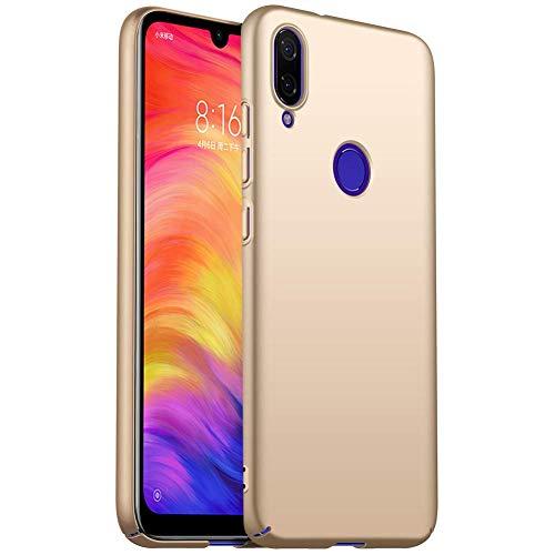 MISKQ Funda para Xiaomi Redmi Note 7/Redmi Note 7 Pro,[Ultra Delgado] [Anti-caída] Ultra-Delgado Concha Dura Resistencia al Rayado Superficial Funda para telefono movil(Dorado)