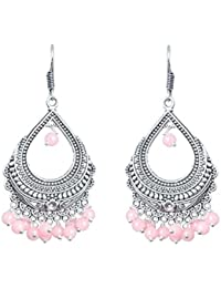 Waama Jewels Elegant Pair Of Peach Color Pearl Silver Plated Bali Dangle & Drop Earring Perfect For All Occasions