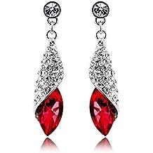 pendiente - TOOGOO(R)Pendientes de estras brillante en forma de lagrima cuelga para mujer rojo