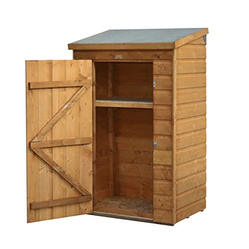 Perfect for wood lovers, this shed is designed to house small tools that would otherwise be all over in the garden. The shed features shiplap cladding that protects the wood against weather elements and it contains a shelf where you can place smaller items. We like this unit because it is durable and well made. Additionally, it doesn't cost too much and it will add some character to your space.