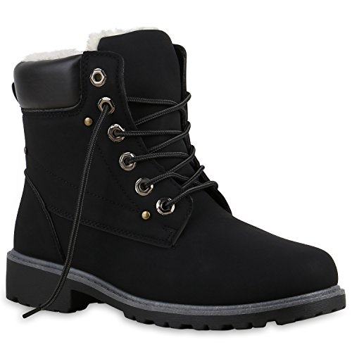Stiefelparadies Unisex Damen Herren Warm Gefütterte Damen Worker Boots Stiefeletten Outdoor Schuhe 126177 Schwarz Dunkelbraun 39 Flandell