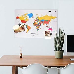 Navaris Tablero de Notas de para rascar – Pizarra magnética con Mapa del Mundo 60x40CM – En diseño de mapamundi – con imanes Marcador y Soporte