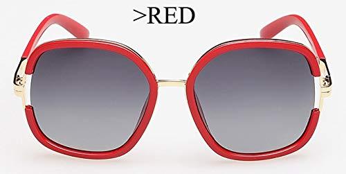 LKVNHP Brillen Uvb Ermüdungsfestigkeit Große Polarisierte Sonnenbrille FrauenMarkendesignerVintage OvalWPGJ018 rot