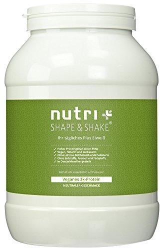 Nutri-Plus Shape & Shake Vegan 1kg Neutral - Veganes Eiweißpulver ohne Zucker, Zusatzstoffe, Süßstoff, Laktose & Milcheiweiß - neues Design (Protein-pulver, Zucker)