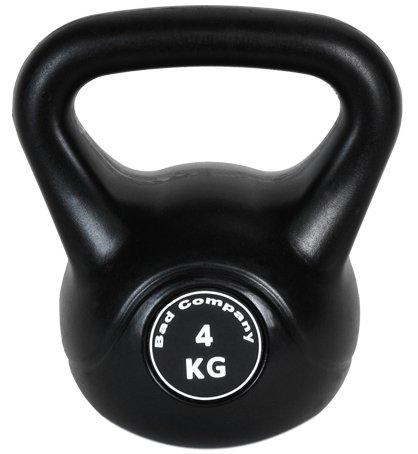 Kunststoff-ummantelte Kettlebell / Kugelhantel 4 Kg schwarz inkl. deutschsprachiger bebilderter Trainingsanleitung