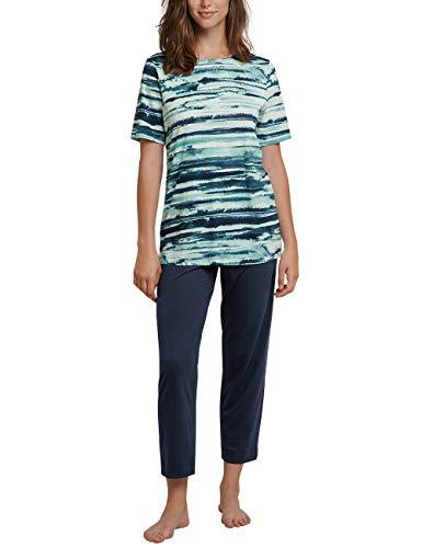 Schiesser Damen Anzug 7/8, 1/2 Arm Zweiteiliger Schlafanzug, Grün (Jade 713), 50 (Herstellergröße: 050)