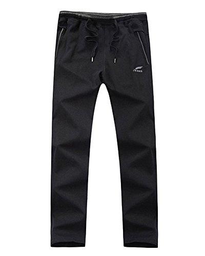 Herren Freizeithose mit offenem Beinabschluss Volle Länge Sporthosen Baumwolle gemischt Jogginghosen Schwarz 6XL