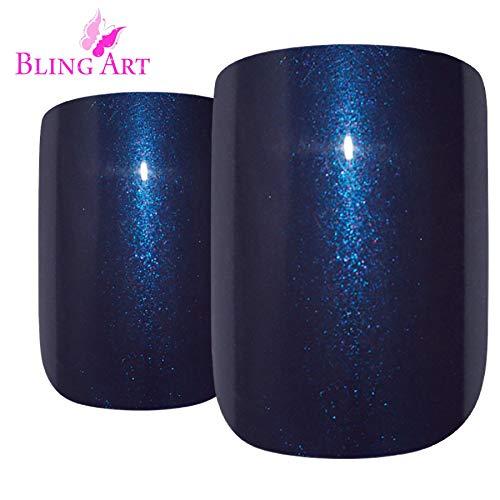 Falsche Nägel Bling Art Blau Glitter Französisch Squoval -