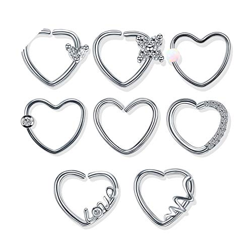 1Pc Stahl Daith Herz Piercings Helix Ohr Tragus Cartilage Rook Piercing Ohr-Piercing Conch Lobe Ohrringe Body Piercings Schmuck, style7, Silber