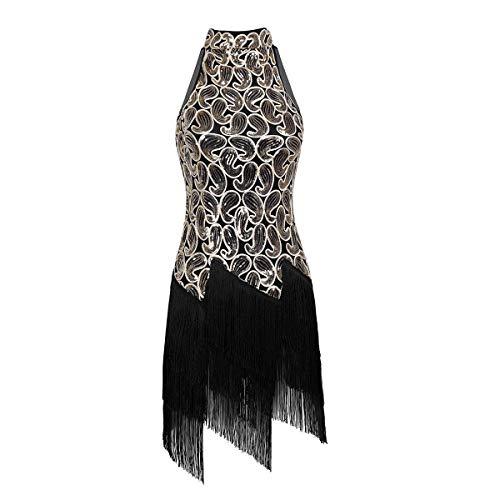 Agoky Damen Retro Flapper Kleid 1920er Jahre Festlich Pailletten Neckholder Partykleid Cocktail Abschlussball Abendkleid mit Fransen Schwarz One ()