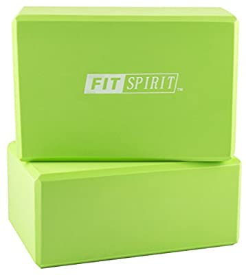 "Fit Spirit¨ Set of 2 Exercise Yoga Blocks - 9"" x 6"" x 3"" - Choose Your Color"