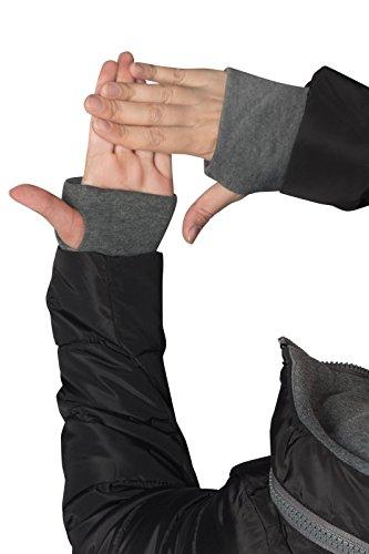 Winter Damen STEPP Mantel LANG Jacke GEFÜTTERT Kapuze ÄRMEL MIT DAUMENSCHLAUFEN, Farbe:Schwarz, Größe:L - 6