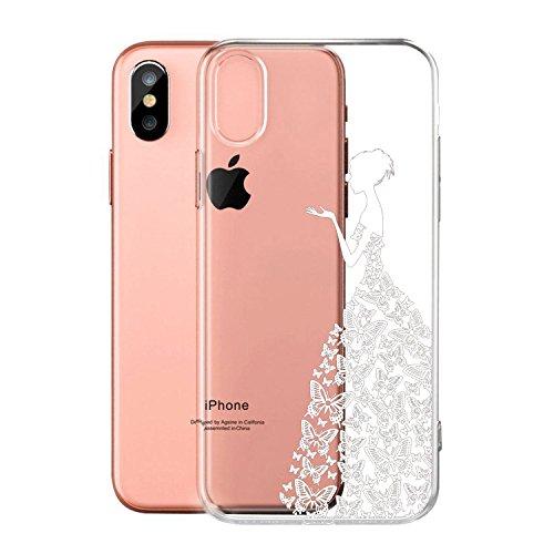 """Coque pour Apple iPhone X , IJIA Transparent Rose Fée Aux Fleurs Papillon TPU Doux Silicone Bumper Case Cover Shell Housse Etui pour Apple iPhone X (5.8"""") WM10"""