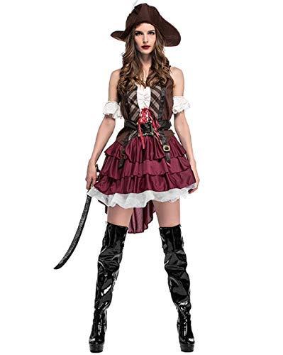 LOBTY Damen Piratin Kostüm,für Piratin Fluch der Karibik Kostüm Seeräuber ,Damen Karneval Kostüm Fasching Cosplay (Shipmate Piraten Kostüm)