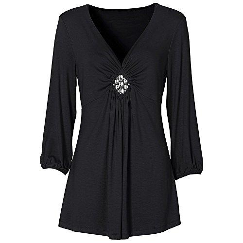 olid Falten geraffte V-Neck Diamond Top T-Shirt Bluse (Der Löwe Im Winter Kostüme)