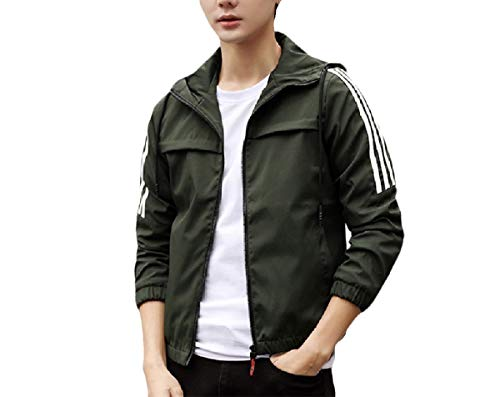 Andode Mens Solid-Colored Baggy Hooded Zip Athletic PEA Coat Rain Jacket Army Green XL -